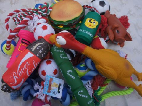 BULK ASSORTED XMAS DOG SQUEAKY CHEW ROPE LARGE TOYS X 10 DOG TOYS + XMAS CARD